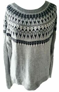 H&M Norweger Pullover L/XL42/44 Island-Muster Jaquard Feinstrick Pulli BW Alpaka