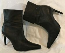 Faith Black Ankle Leather Boots Size 4 (474QQ)