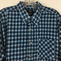 Dry Goods Mens Blue Plaid Flannel Long Sleeve Button Up Shirt Pocket Size XL
