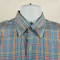 Peter Millar Mens Blue Orange Check Plaid Dress Button Shirt Sz Medium M