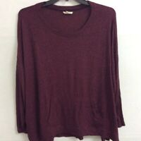 Cupio Womens T-Shirt Red Heathered Long Sleeve Scoop Neck Stretch Pouch Plus 2X