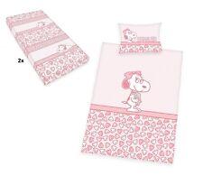 4tlg. Baby Bettwäsche Set 100x135 40x60cm SNOOPY BELLE inkl. 2x Spannbettlaken