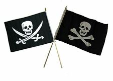 "12x18 12""x18"" Wholesale Combo Pirate Calico Jack & No Patch Skull Stick Flag"