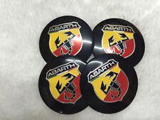 4 X ABARTH fiat 56 mm Wheel Centre Cap Sticker Autocollante Qualité Supérieure Autocollant