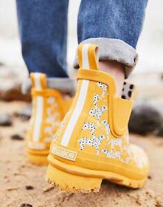 Joules Womens Wellibob Short Height Wellies - Gold Dalmatian - Adult 4
