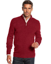New Geoffrey Beene Big and Tall Solid Ribbed Quarter Zip Pullover Sweater  2XLT