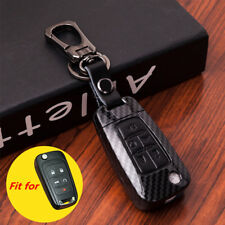 Black Carbon Fiber Leather 5 Buttons Key Fob Cover Chain for Chevrolet Buick GMC