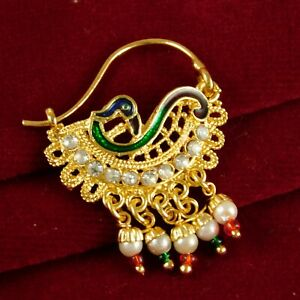 Indian Women Bridal Nath Traditional 18K Nose Rings Ethnic Wedding Jewelry