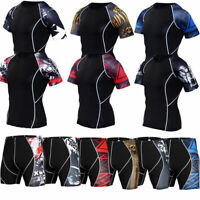 Mens Compression T Shirts Gym Workout Running Shorts Sleeve Tight Printed Tanks