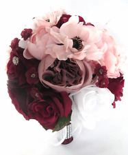 Wedding Bouquet 17 piece package Bridal Silk Flowers BURGUNDY WINE PINK Blush