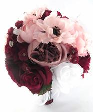Wedding Bouquet 17 piece package Bridal Silk Flowers BURGUNDY WINE PINK Blush