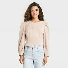 Women's Long Sleeve Denim Pullover Top - Universal Thread Pink M
