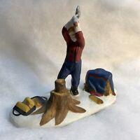 Lemax Village Man Chopping Fire Wood Figurine Vintage Christmas Display Railroad
