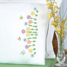 Jack Dempsey Needle Art Field of Flowers Perle Edge Pillowcases