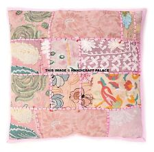 Indian Patchwork Pillow Case Kantha Cushion Covers Sofa Chair Pink Decor 40x40cm