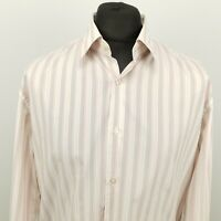 HUGO BOSS Mens Shirt 44 17.5 XL Long Sleeve Pink Slim Fit Striped Cotton