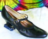 size 8.5-9-9.5 vtg 60s black mary-jane pumps shoes NOS