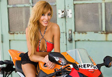 Art Honda repsol Motocycle Motorbike Very Fit sexy Girl Poster Print