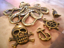 5 Assorted Charms Pendants Nautical Charms Octopus Anchor Pirate Charms Bronze