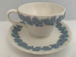 WEDGWOOD QUEENSWARE Barlaston Etruria Embossed Blue White Tea Cup & Saucer