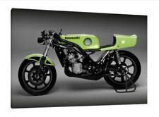 1975 Kawasaki 500 H1R-W - 30x20 pulgadas lienzo enmarcado cuadro impresión Gp Bici Clásica