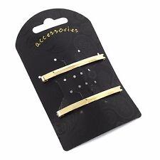 Pair of Single Bar Design Unsprung Hair Barrette Clips Slides 6cm - Accessories