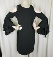 Vince Camuto Shimmer Luxe Bell Sleeve Bare Cold Shoulder Dress Womens L 9157903