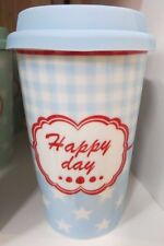 Coffee to Go Vaso kafferbecher Viaje Jarra Happy Day PORCELANA AZUL