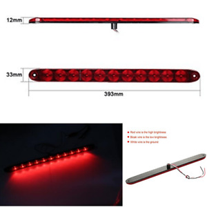 "15"" Red 11LED Clearance Marker Car Truck Light Bar Stop Turn Tail 3rd Brake Lamp"