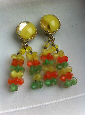Ancien Bijou - Boucles d'Oreilles en perles - CLIPS - Old Earrings Glass Beads