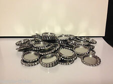 Pack of 50 Flat Chrome Bottle Caps and 50 Epoxy Clear Resin Domes/Dots
