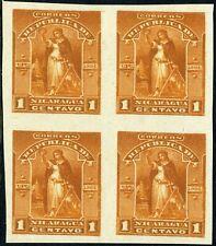 Nicaragua 1894 Victory UPU 1¢ Trial Color Proof Block Y734 ⭐⭐⭐⭐⭐⭐