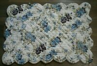 New Blanc D'Ivoire single quilted pillow sham blue sage green floral standard