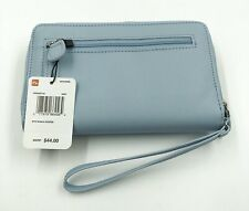 New Mundi My Big Fat Wallet Light Blue Zip Around Clutch Wristlet Organizer
