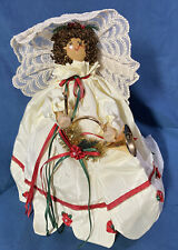 """Handmade 9"""" Primative  ANGEL TREE TOPPER - Signed Polly 1989 - Red Accents"""