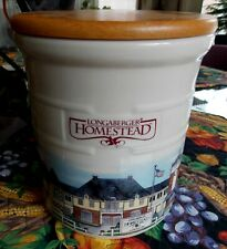 Longaberger Homestead Pottery crock 2 quart with sealed wood lid Euc