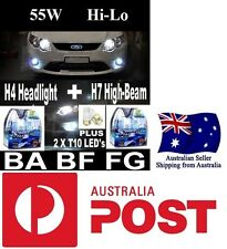 55W CRYSTAL WHITE Headlight Bulbs Globes Lights FALCON . BA BF FG XR6 XR8