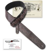 Walker & Williams LIF-03 Weathered Dark Brown Padded Leather Strap with Tooling