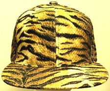 NEW CORDUROY TIGER STRIPES FAUX FUR SKIN PRINT ANIMAL BASEBALL CAP HAT SNAPBACK