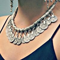 Women Stylish Pretty Boho Ethnic Statement Pendant Collar Choker Coin Necklace