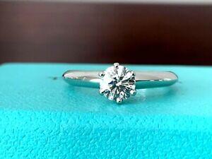 Tiffany & Co Platinum Round Diamond Engagement Ring .59 CT H VVS2 3 EXC $6k NEW