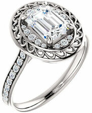 1.02 ct Emerald Cut Diamond Halo Engagement Wedding Ring 14k White Gold SI1