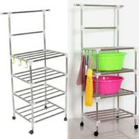 4 Tier Metal Bathroom Kitchen Trolley Storage Shelving Stand Shelves Cart Rack