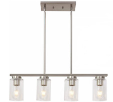 Tudoluz 4-lights Island Ceiling Pendant Light with Clear Glass Brushed Nickel
