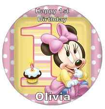 MINNIE Mouse 1st Compleanno Personalizzati CAKE TOPPER COMMESTIBILI WAFER CARTA 7,5 ""