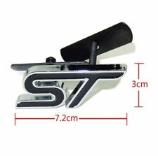 3D Metal Ford Focus Fiesta ST Grill Badge w/ Fitting Kit - Black