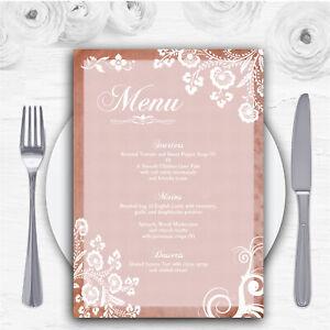 Rustic Blush Lace Personalised Wedding Menu Cards