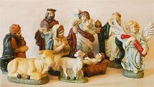 Christmas Nativity Set Vintage 9 Ceramic Pottery Figures