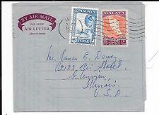 MALAYA PERAK 1958 UPRATED 50c AIR LETTER TO USA