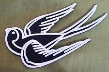"""""""SWALLOW"""" Embroidered Patch Iron On 1950s ROCKABILLY CHERRY Pin Up Punk TATTOO"""